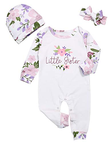 Baby Girl Clothes Little Sister Newborn Outfit Print Long Sleeve Romper Overall Floral Jumpsuit (White+Purple, 0-3 Months)