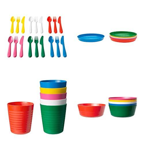 Ikea Plastikbesteck mit Kalas, Messern, Gabeln, Löffeln, Schalen, Tellern und Tassen (36 Teile) Packen von 1 Mehrfarbig