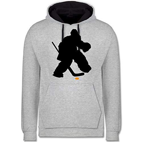 Shirtracer Eishockey - Eishockeytorwart Towart Eishockey - M - Grau meliert/Navy Blau - Silhouette - JH003 - Hoodie zweifarbig und Kapuzenpullover für Herren und Damen