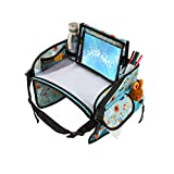 Kids Car Seat Travel Tray- Kids Car Travel Tray with Tablet Holder- Sturdy Dry Erase Board -Snack...
