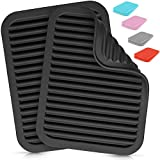Zulay 2 Pack (9'x12') Silicone Trivets For Hot Pots and Pans - Multi-Purpose & Versatile Trivet Mat - Heat Resistant Silicone Trivet - Durable & Flexible Hot Pads For Kitchen Counter - Black