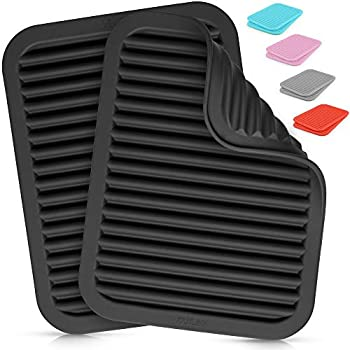 Zulay 2 Pack  9 x12   Silicone Trivets For Hot Pots and Pans - Multi-Purpose & Versatile Trivet Mat - Heat Resistant Silicone Trivet - Durable & Flexible Hot Pads For Kitchen Counter - Black