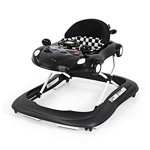 DREAMADE Autoförmige Lauflernhilfe, 3 in 1 Lauflernwagen mit abnehmbarer Tischplatte, höhenverstellbare Laufhilfe mit Spieluhr & Rädern, klappbar Gehfrei für Kleinkinder von 6 bis 18 Monate (Schwarz)
