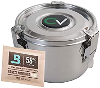 CVault Stainless Steel Humidity Control Stash Container for Herbs, Medicine, Spices w/ Humidity Pack