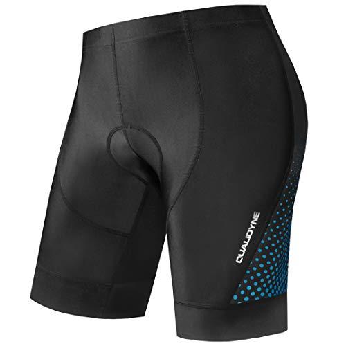 Qualidyne - Pantalón corto de ciclismo para hombre, con acolchado 4D, secado rápido, transpirable, para ciclismo de montaña, todo el año, Hombre, color azul, tamaño large