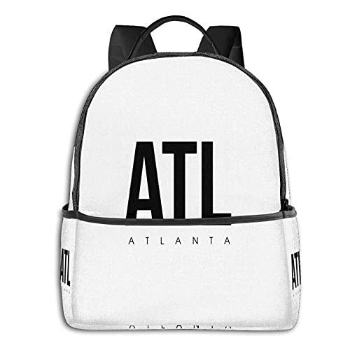 QQIAEJIA Mochila de poliéster de moda Código del aeropuerto de Atl Atlanta Todas las estaciones Unisex Mochilas diarias de gran capacidad duraderas para la escuela al aire libre