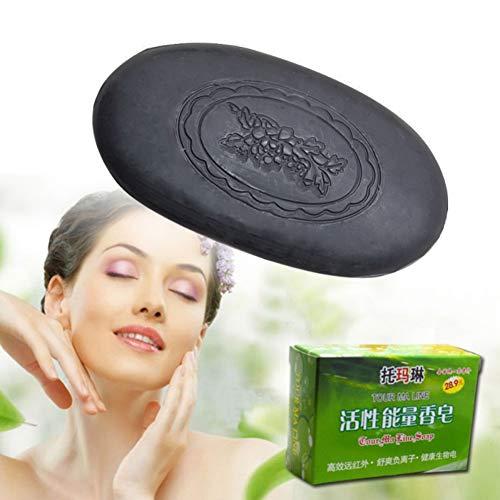 Savon au charbon de bambou 100% Naturel, KISSION Savon de Nettoyage du visage Blanchissant Stérilisation Anti-acné (Noir)