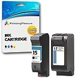Printing Pleasure 2 Compatibles HP 15 & HP 17 Cartuchos de Tinta para HP Deskjet 816c 825c 825cvr 825cxi 827 840c 841c 842c 843c 845c 845cse 845cvr 845cxi 848c - Negro/Color, Alta Capacidad