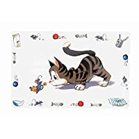 Non slip mat Ideal for dog and cat bowls Keep your floor clean Made from plastic material Measures 44 cm length by 28 cm width