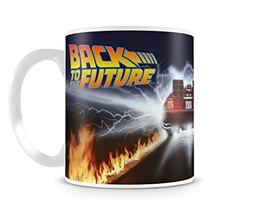 Back to the Future – Delorean Fire Tracks – Taza de café y té con licencia y caja de regalo