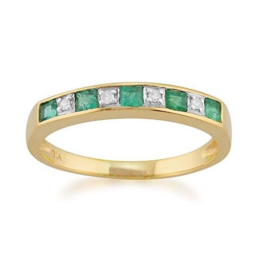 Gemondo   9 k (375)  oro amarillo cuadrado redondo   blanco verde diamante esmeralda