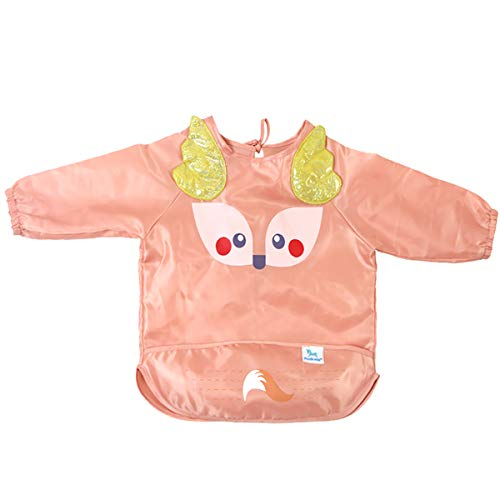 OZCOWBABY Baberos Manga Larga Bebé Babero ajustable impermeable a prueba de aceite delantal Apto para bebés de 5 a 20 meses Rosado