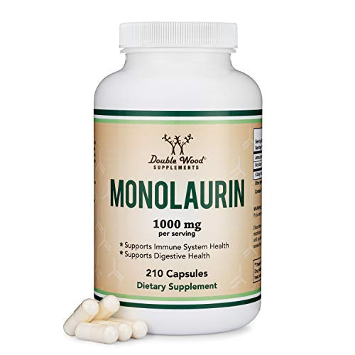 Monolaurin 1,000mg per Serving, 210 Capsules (Vegan Safe, Non-GMO, Gluten Free, Made in The USA) Immune Health Support by Double Wood Supplements