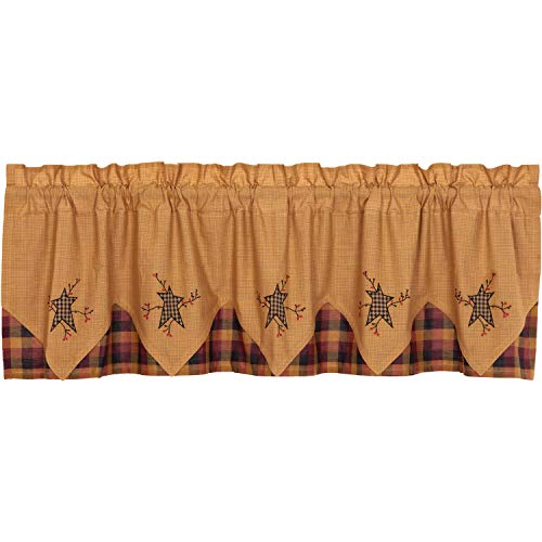 VHC Brands Primitive Kitchen Curtains Heritage Farms Pip Rod Pocket Cotton Hanging Loops Appliqued Star 20x72 Valance, Mustard Yellow