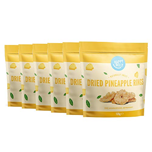 Marca Amazon - Happy Belly Rodajas de piña deshidratadas, 6 x 125g