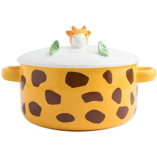 WDZJM Tazón de Sopa Lindo de cerámica de Dibujos Animados creativos para el hogar con Tapa Plato de Ensalada de Frutas Anti-escaldado tazón de Fideos instantáneos 15x8 cm (Color : A)