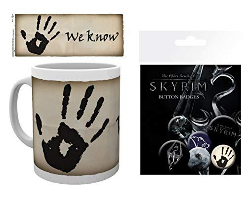 1art1 Skyrim, The Elder Scrolls V, We Know Foto-Tasse Kaffeetasse (9x8 cm) Inklusive 1 Skyrim Button Pack (15x10 cm)