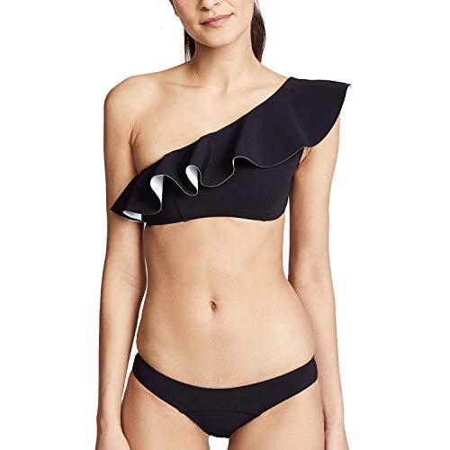Lisa Marie Fernandez Womens Arden Flounce Bikini Set Black/White Bonded 2