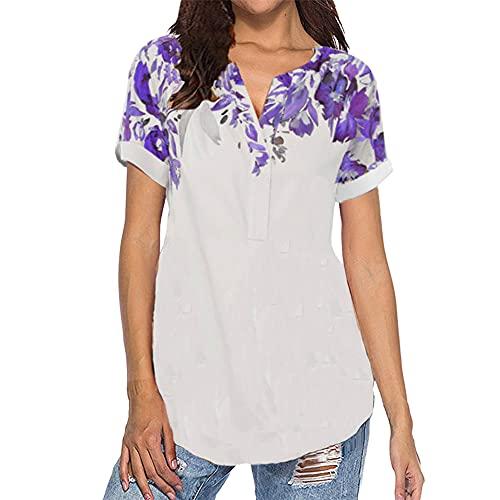Túnica Informal con Cuello en V para Mujer Tops Camisas Blusa Camiseta de Manga Corta Estampada Nueva Dobladillo asimétrico de Talla Grande Túnica de Jersey con Estampado Floral de Rosas para Mujer