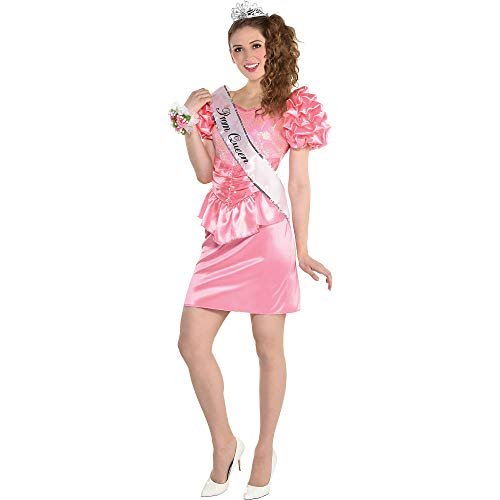 amscan Over The Top 80s Prom Queen Dress Halloween Costume for Women, Small/Medium, Pink with Sequins and Ruffles, multicolor (8405297)