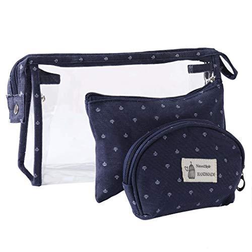 Kulturbeutel Transparent für Reisen 3 Stück, Wasserdicht PVC Kulturtasche für Frauen Kosmetiktasche Make-Up Tasche Kleine Brieftasche mit Reißverschluss,Marine