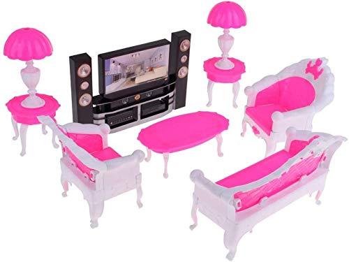 7PCS Dollhouse Miniaturas Muebles Decoración Hecha a Mano Mesa Auxiliar Sofá Lámpara de Mesa TV