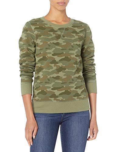 Amazon Essentials French Terry-Sudadera con Cuello Redondo Fashion-Sweatshirts, Verde (Green Camo), L