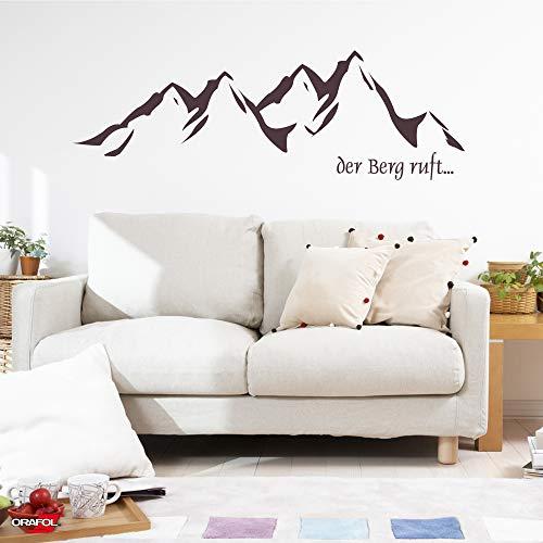 LAVICO|M Wandtattoo [Der Berg Ruft] Alpen Bayern Österreich Italien Wandsticker dunkelgrau