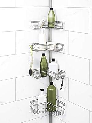 Zenna Home Tension Pole Shower Caddy, Satin Nickel