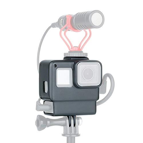 KINGWON ABS Kunststoff Schutz Gehäuse Schale für GoPro Hero 7 Black mit kaltem Schuhmontage Mikrofon Adapter Halterung