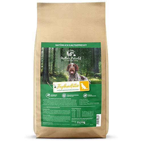 Müllers Naturhof | Jagdhundfutter | 13,5 kg | Gartengemüse & Wiesenkräuter | Natürlich kaltgepresst | getreidefreie Rezeptur | Trockenfutter für alle Hunderassen | Traditionell hergestellt