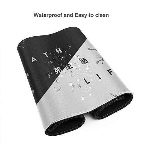 Black and White Cherry Blossom Gaming Mouse Pad XL, Extended Large Mouse Mat Desk Pad, Stitched Edges Mousepad, Long Non-Slip Rubber Base Mice Pad, 31.5 X 11.8 Inch Photo #2
