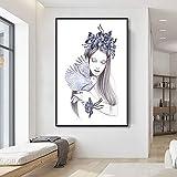 Geiqianjiumai Moda nórdica Moderna Lienzo Decorativo Chica Estilo Flor Pintura Pared Pintura Cartel Sala de Estar decoración del hogar 'Pintura sin Marco 60X90CM