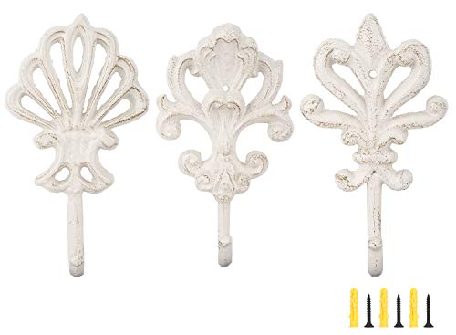 Lewondr Shabby Chic Cast Iron Decorative Wall Hooks, 3 Pieces Retro Rustic Wall Hanger Brackets French Country Style Decor with Sraws and Anchors Antique Hanging Hook - Fleur De Lis, Vintage White