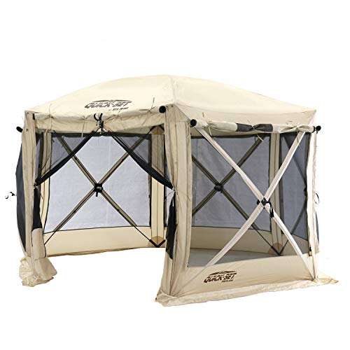 CLAM Quick-Set Pavilion 12.5 x 12.5 Foot Portable Pop-Up Outdoor Camping Gazebo Screen Tent 6 Sided Canopy Shelter w/ Ground Stakes & Carry Bag, Tan