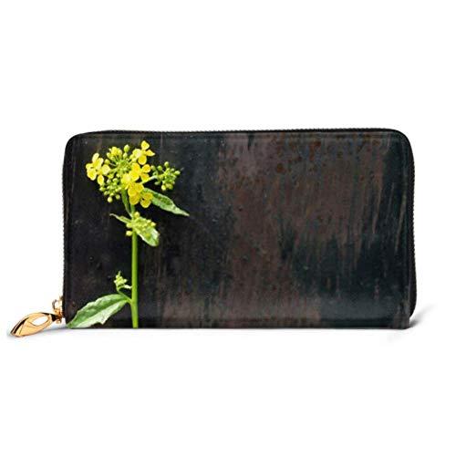ZhangYu Bolso de Moda Cartera con Cremallera Flor de Colza Silvestre Flor conocida de...
