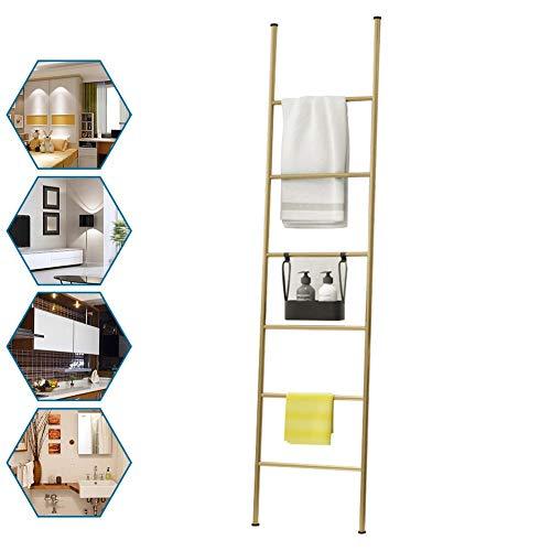 M-TOP Handdoekenladder, zwart, decoratieve ladder, handdoekenrek, roestvrij staal, vrijstaand, handdoekhouder, badkamer zonder boren, met 6 sporten, kledingrek voor badkamer, woonkamer, loft