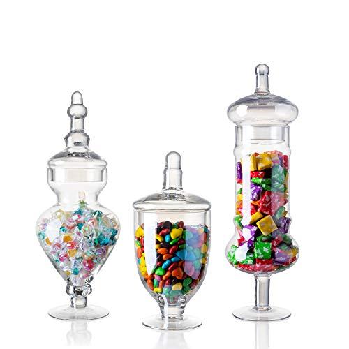 "Diamond Star Set of 3 Glass Apothecary Jars Elegant Storage Jar, Decorative Wedding Candy Organizer Canisters Home Decor Centerpieces (H: 9"", 12.5"", 14"")"