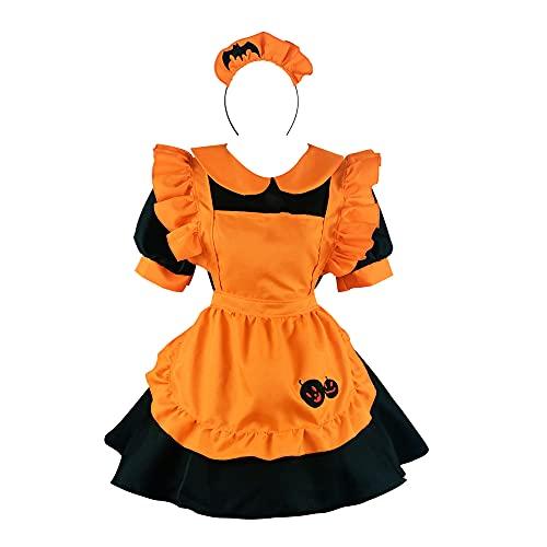 Delantal de anime vestido de criada Lolita Pumpkin Maid Cosplay Traje de vestir francés falda con sombrero, disfraz de princesa japonesa con delantal de manga corta Tops Halloween