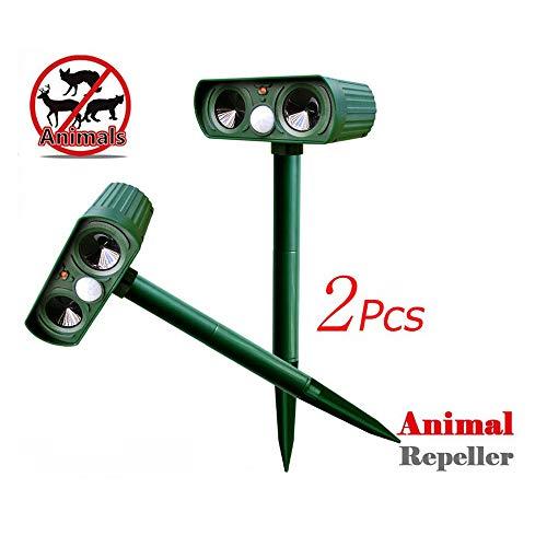 Solar Animal Repeller, 120dB Animal Deterrent/Mobile Outdoor Camping Anti-Theft Intruder Alarm voor Thief Dog Squirrels Muizen Rat Vole Bird Rodent, 2 Pcs