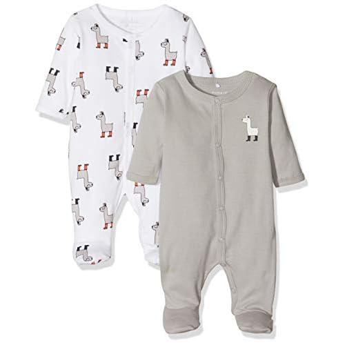 Name It Nbnnightsuit 2p W/f Noos Pigiama, Multicolore (Weiß Bright White), 50 (Pacco da 2) Unisex-Bimbi