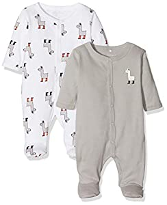 NAME IT Nbnnightsuit 2p W/f Noos Pijama, Multicolor (Weiß Bright White), 86 (Pack de 2) para Bebés