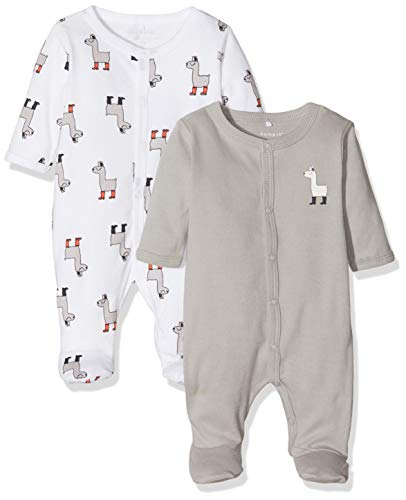 NAME IT Nbnnightsuit 2p W/f Noos Pijama, Multicolor (Weiß
