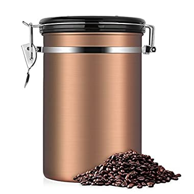 Coffee Container,Stainless Steel Brown Vacuum Sealed Food Storage Coffee Canister (22 OZ)