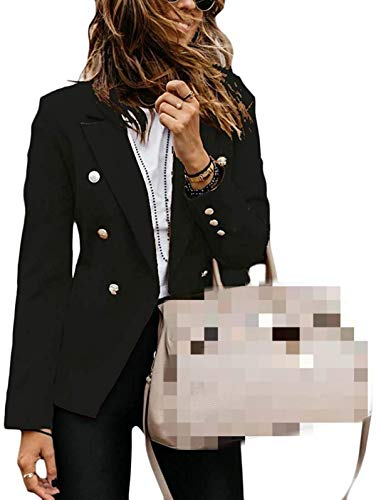 NDCATHE Womens Plain Slim Wear to Work Double-Breasted Classic Blazer Jackets