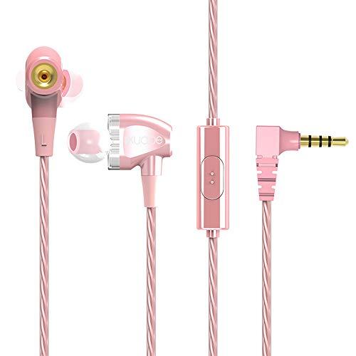 3,5 mm In-Ear-Kopfhörer, HiFi-Kopfhörer, Stereo, Sport-Headset mit Silikon-Mikrofon, geeignet für Gaming, Workouts, Sport, Laufen, Arbeit rose