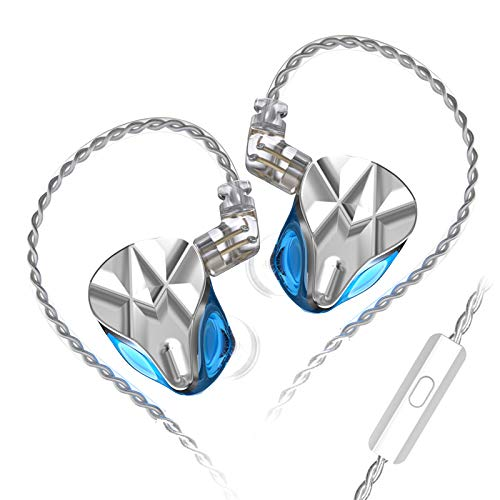Linsoul KZ ASF 5BA Balanced Armatures HiFi in-Ear Earphones with Zinc Faceplate Resin Shell, 0.75mm 2 Pin Cable for Audiophile Musicians (with mic, Blue)
