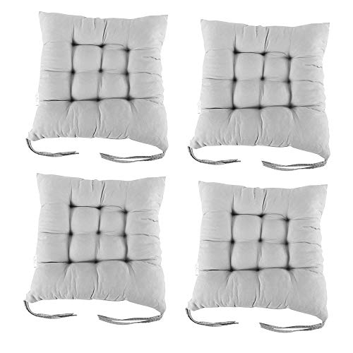 PandaHug Seat Pads for Dining Chair,Set of 4 Chair Pad Cushions with Straps for Indoor Outdoor Garden Office Living Room 40 x 40 cm (Grey)