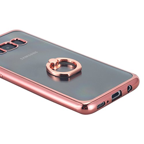 Galaxy S8 Plus Case, Thin Clear Luxury TPU Rose Gold Bumper Case Cover with Built-in Ring Grip Holder for Samsung Galaxy S8 Plus - Rose Gold