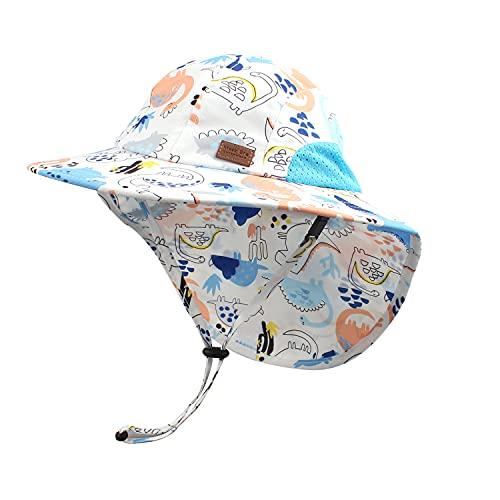 Pesaat Sombrero para el Sol para bebé niña con protección UV con protección para la Nuca Gorro de Verano para niños Paraíso de Playa Large(Dinosaurio Azul Cielo,4-8 años)